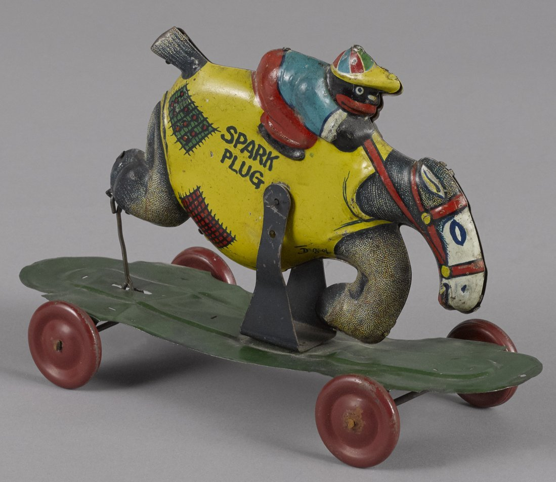 Nifty tin lithograph Spark Plug pull toy, Co
