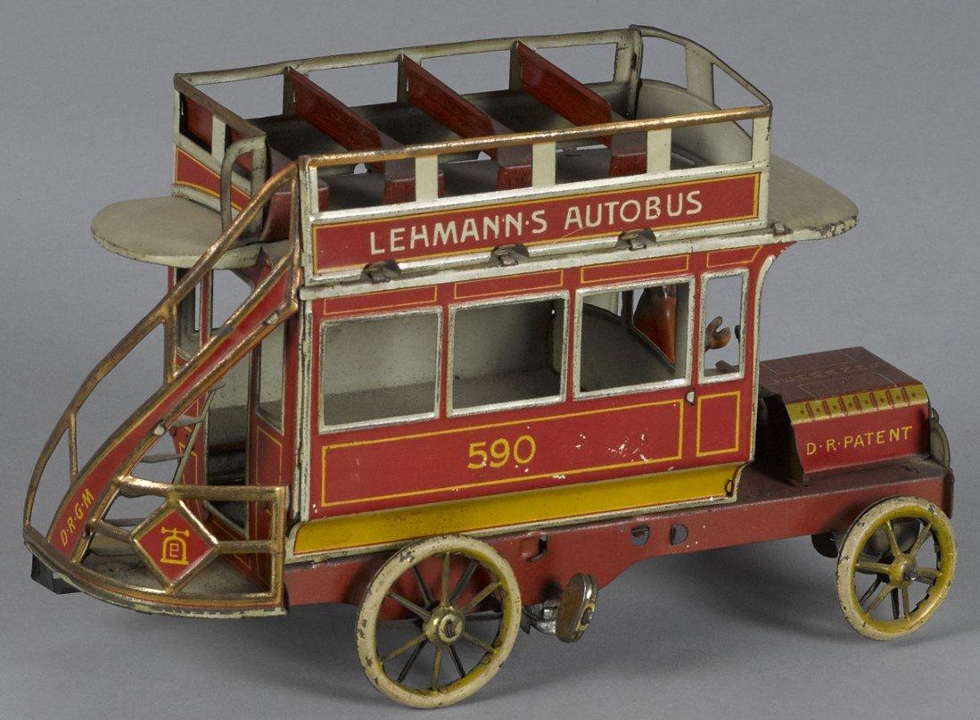 Lehmann tin lithograph clockwork Autobus, 8''