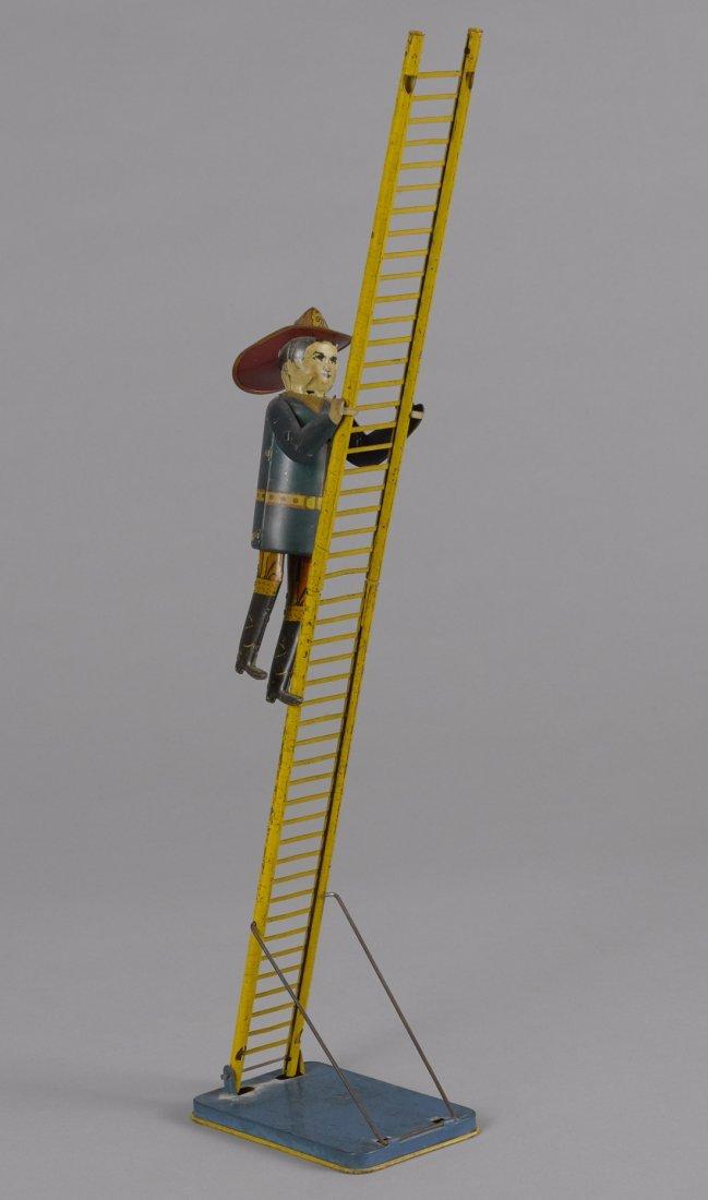 Marx tin lithograph wind-up climbing fireman, o