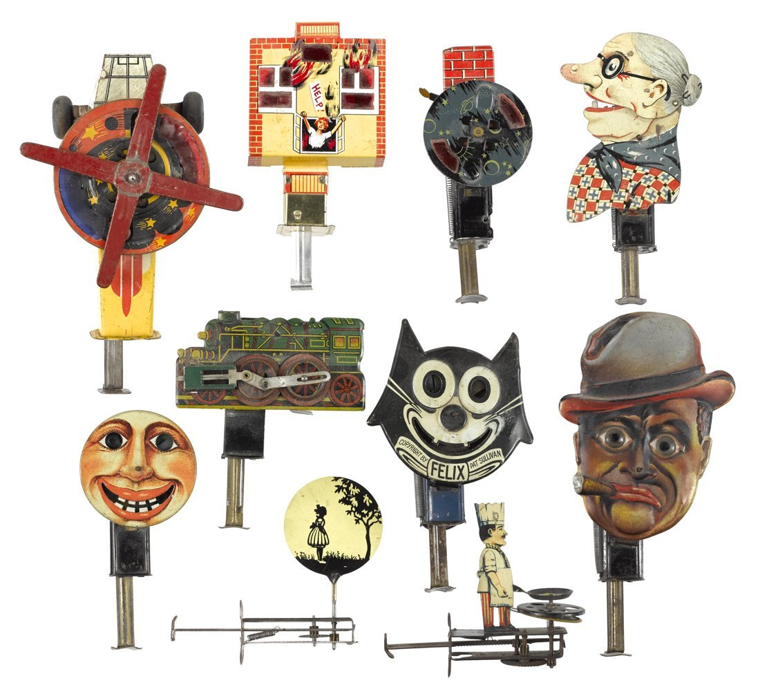 Ten tin lithograph plunger toys, to include a F