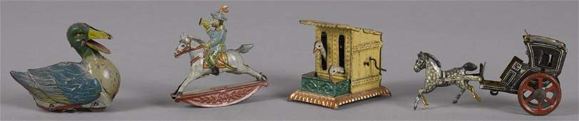 Four tin lithograph penny toys to include a Me