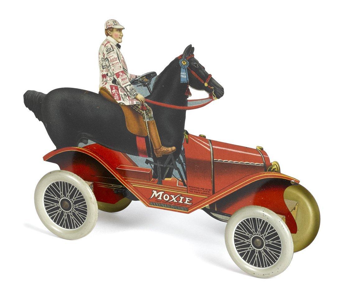 Tin lithograph Moxie advertising horse car,