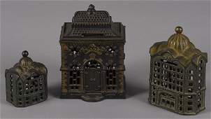 Three cast iron still bank buildings, to includ