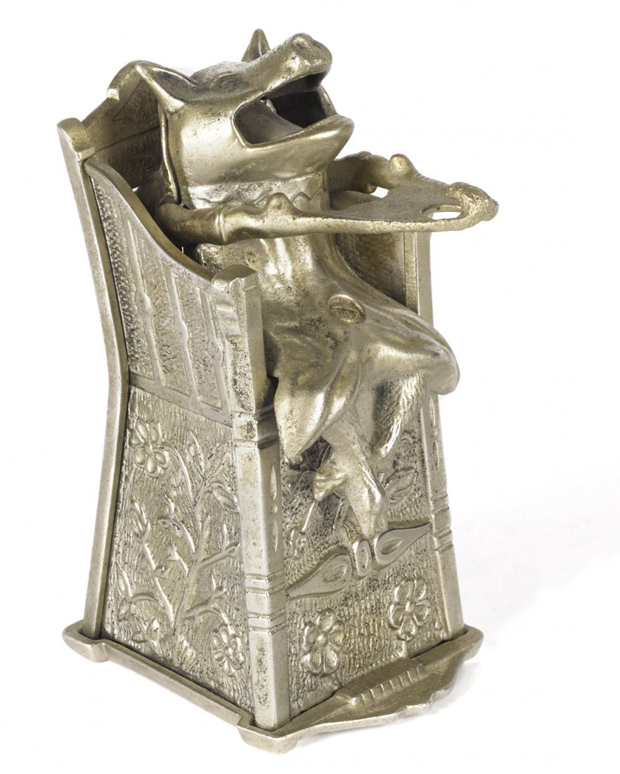 J. & E. Stevens nickel plated cast iron pig in h