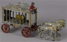 Hubley cast iron horse drawn Royal Circus cage