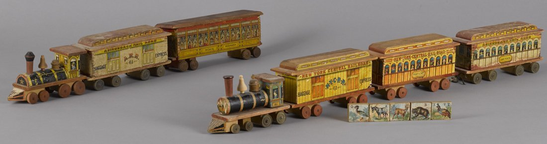 Paper lithograph train engines and cars, probab