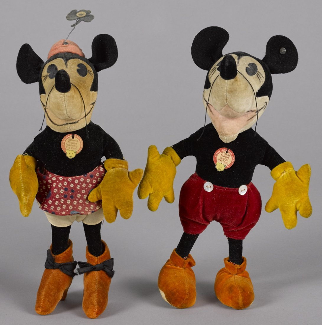 Exceptional matched pair of Steiff Mickey and Mi