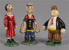 Three Hubley painted cast iron comic character f