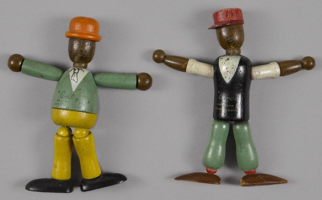 Jaymar Amos 'N' Andy jointed wood dolls, 5 3/4''