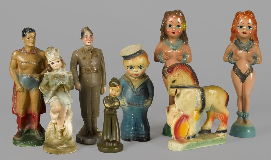Eight carnival chalk character figures, to incl
