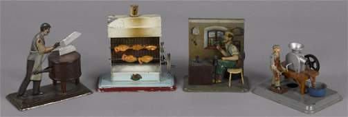 Four tin live steam toy accessories, to include