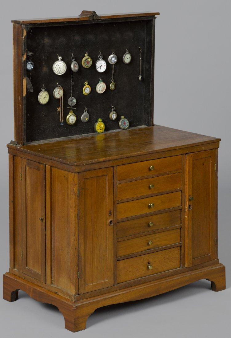 Unusual child size walnut watch maker's chest w
