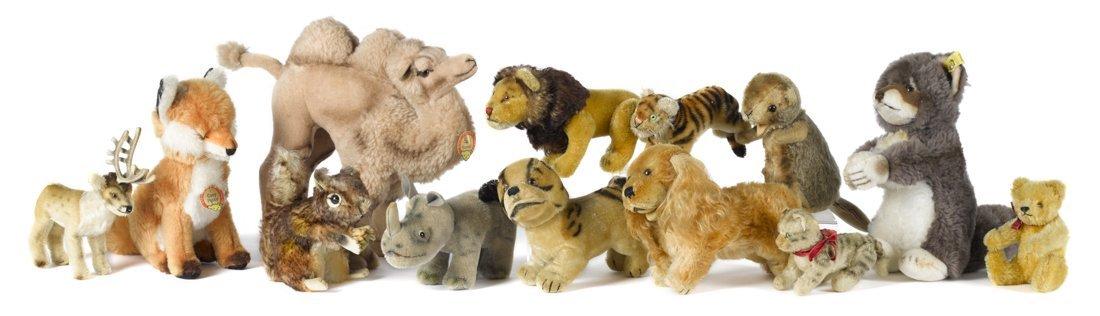 Thirteen Steiff plush animals, several vintage,