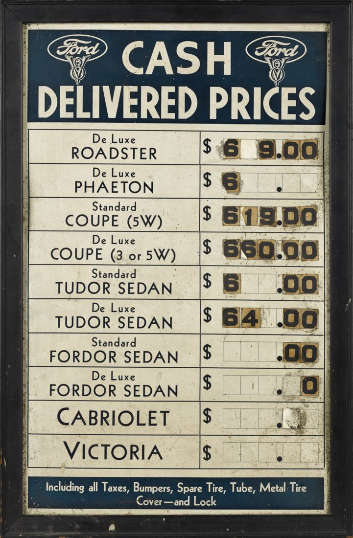 Ford Cash Delivered Prices advertising sign,
