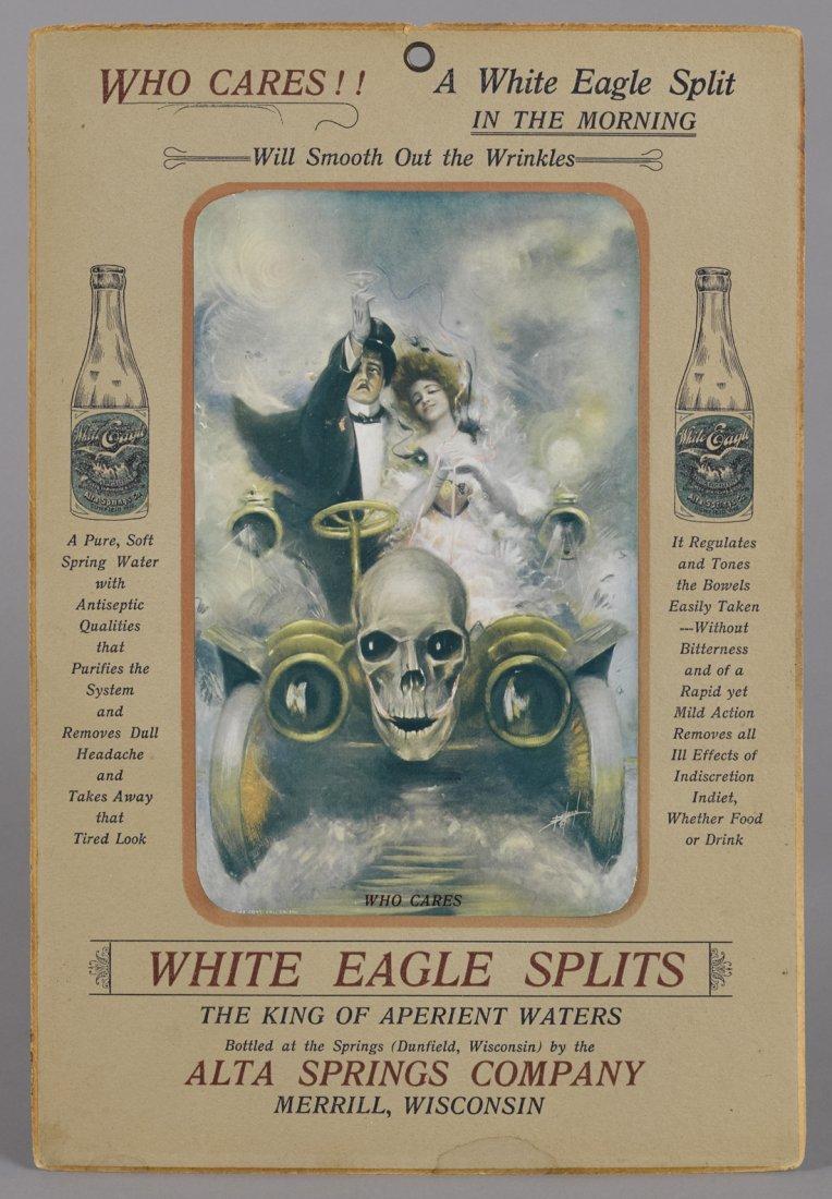 White Eagle Splits spring water cardboard adve