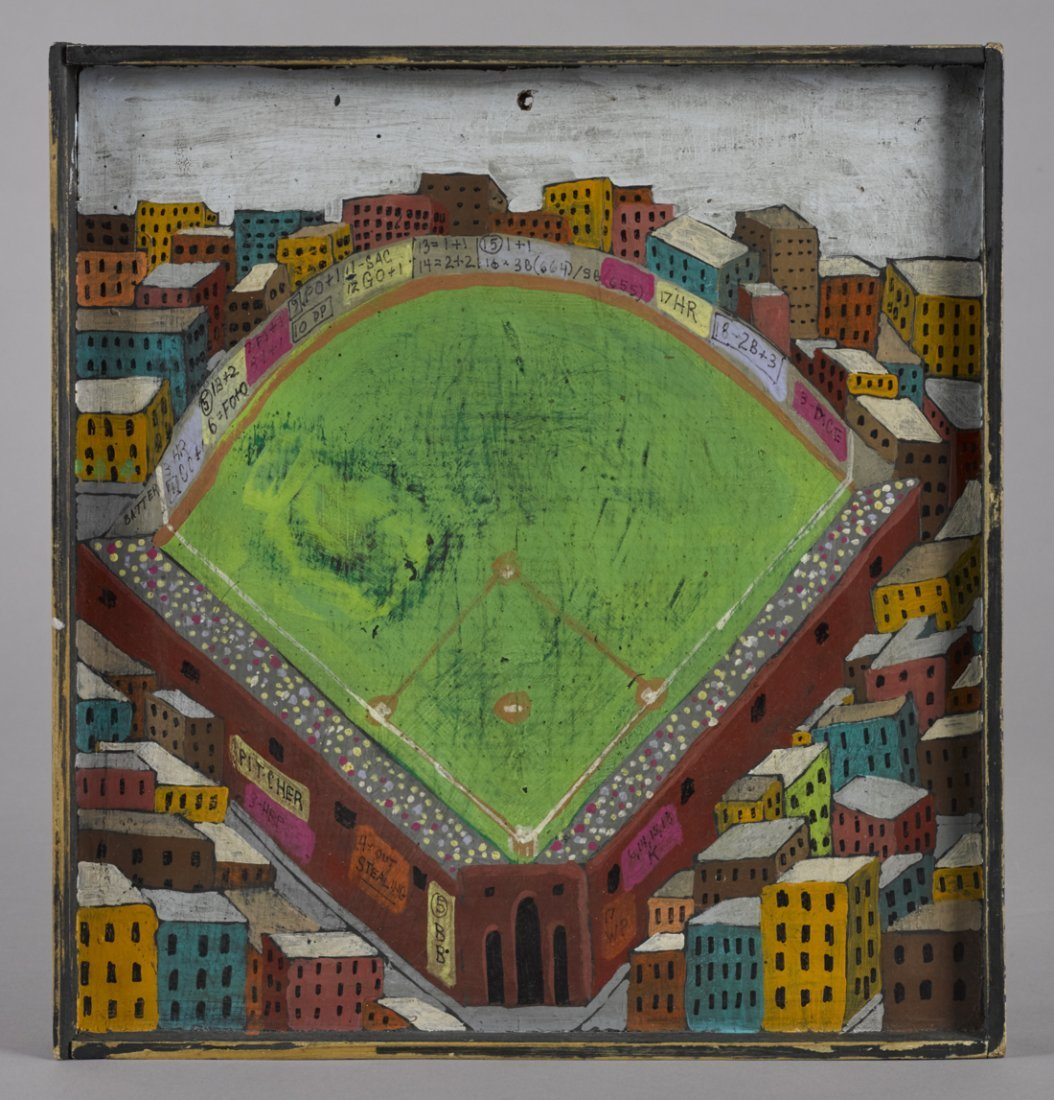 Folk art painted pine baseball dice game board,