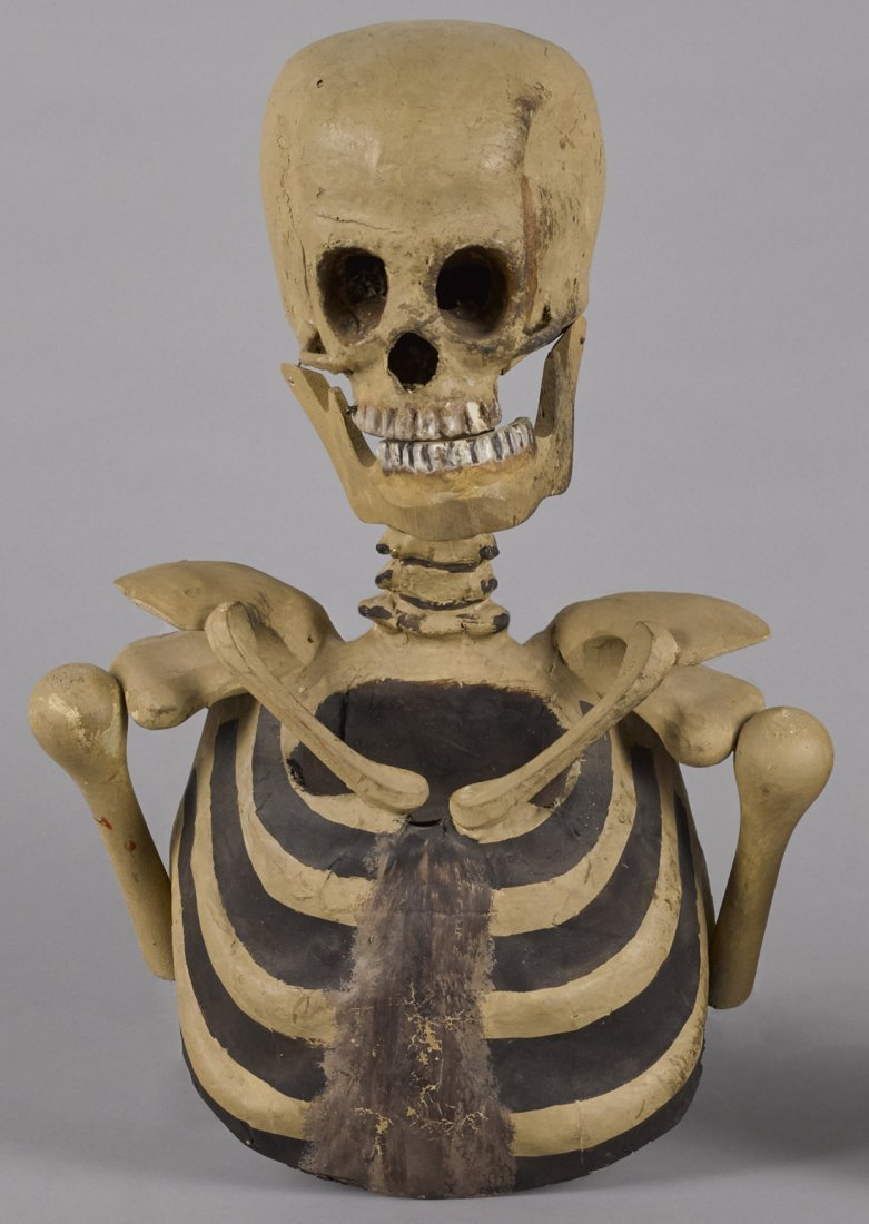 Composition Halloween skeleton bust with a hing