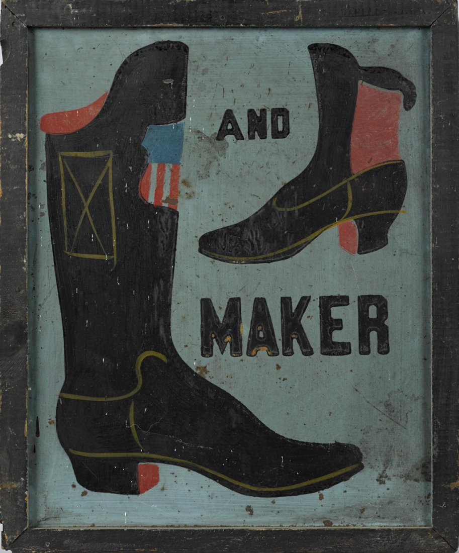 Boot and Shoe Maker painted tin trade sign,