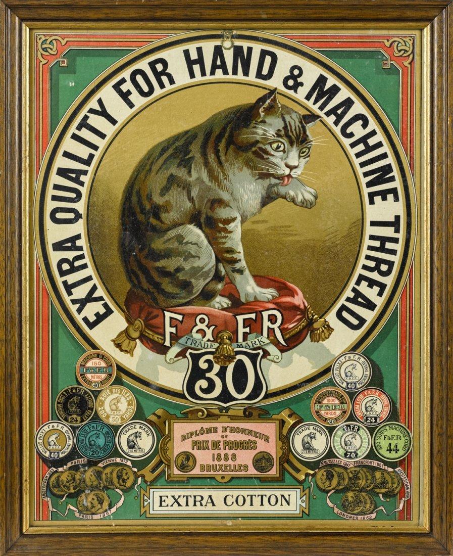 F & FR thread lithograph cardboard advertising