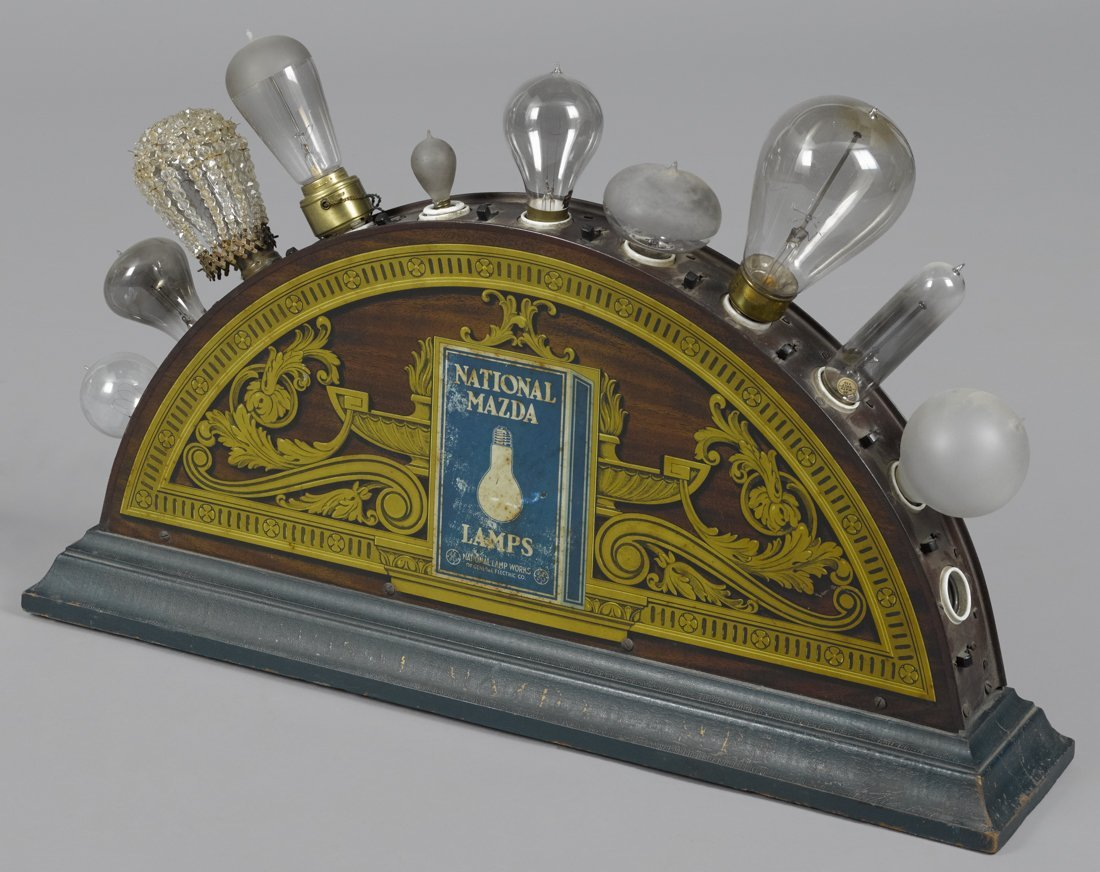 National Edison Mazda Lamps lighted tin and pine