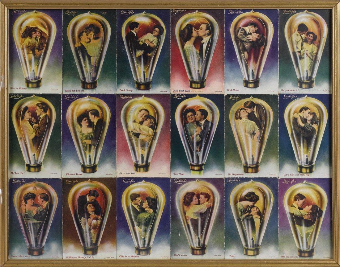 Eighteen Edison Mazda Lovelights postcards, i