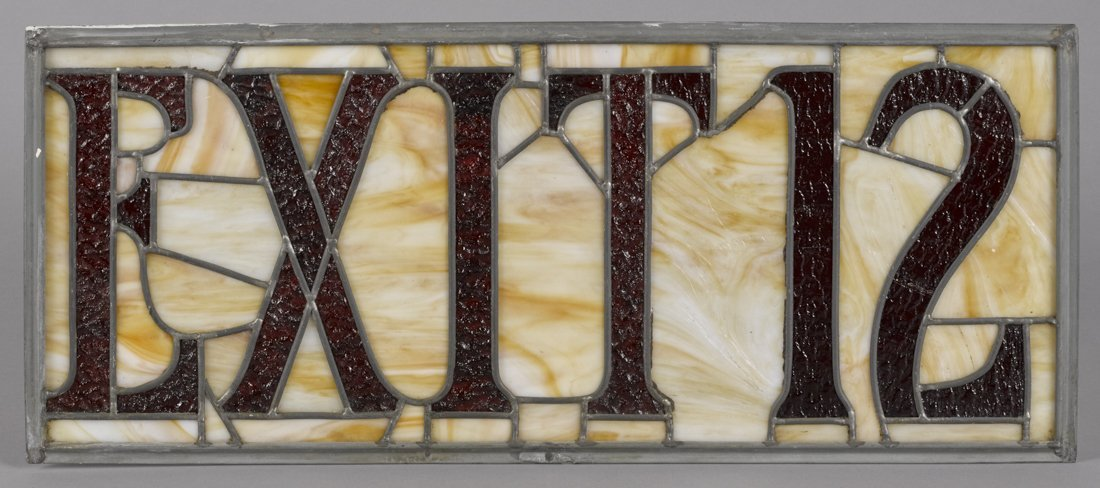 Three leaded glass Exit panels with metal fra