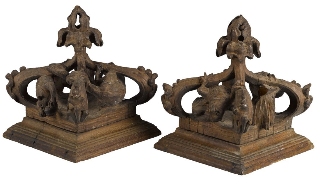 Two architectural carved wood corbels/ceiling ca