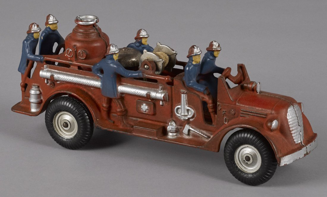 Arcade cast iron fire pumper truck with origina