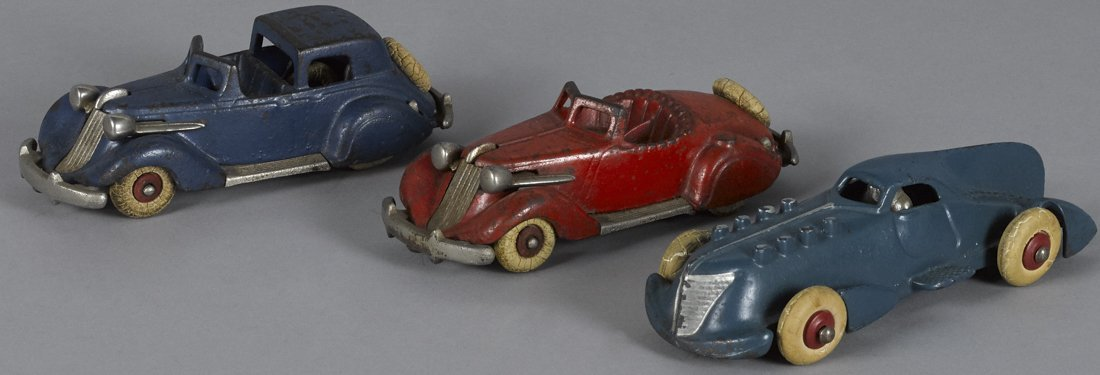 Three cast iron Hubley cars, to include a Stude