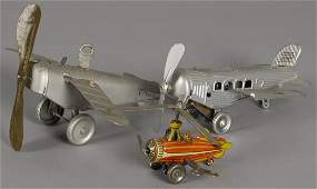 Kellerman tin lithograph clockwork autogyro wit