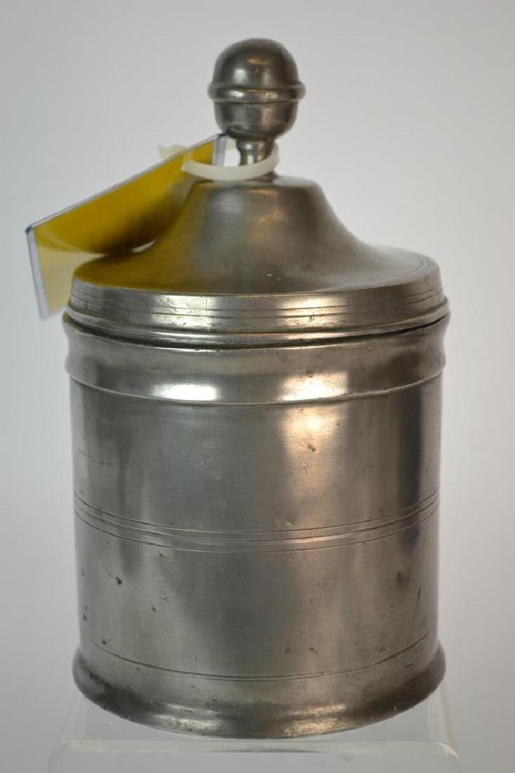 Early 19th century German pewter lidded container