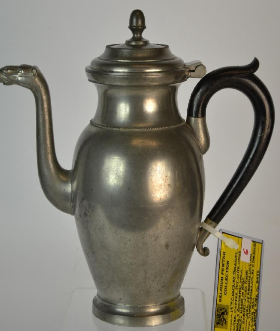 19th Century Belgium Pewter Coffee Pot