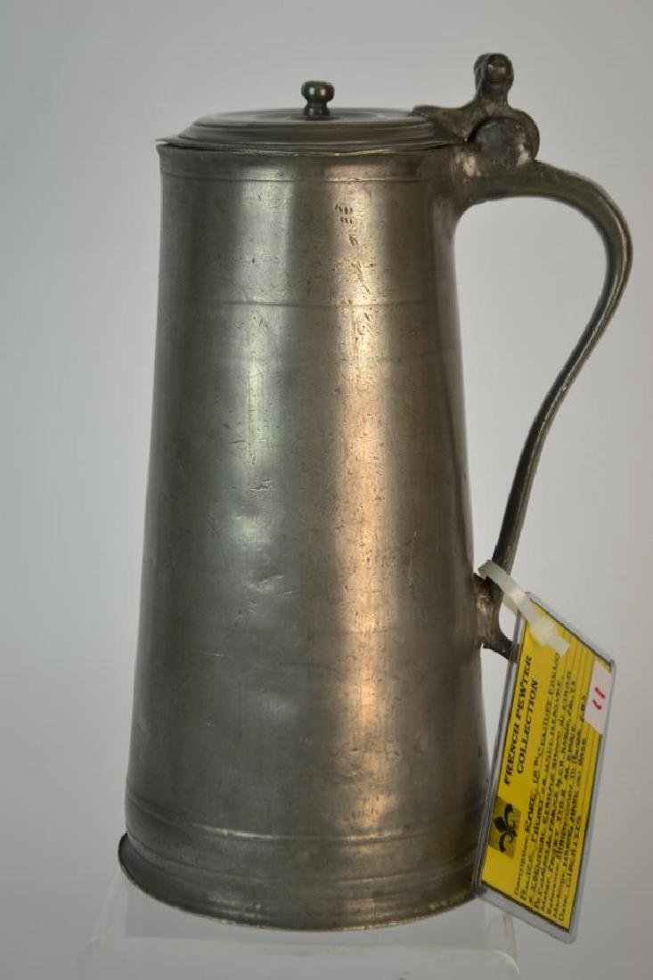 Rare form, 18th C French Pewter Wine 'Pitchet