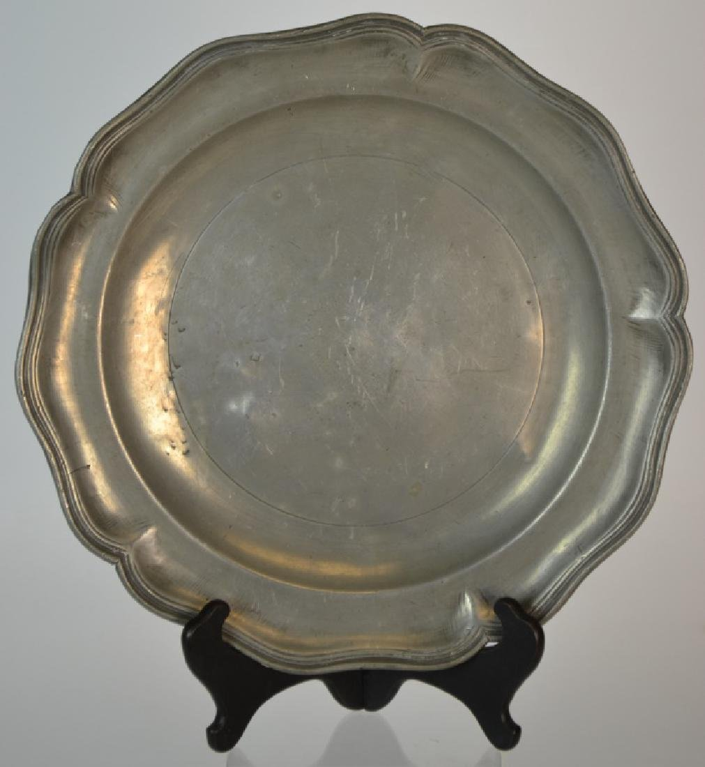 18th C German Wavy-Edge/Rococo Form Pewter Charger
