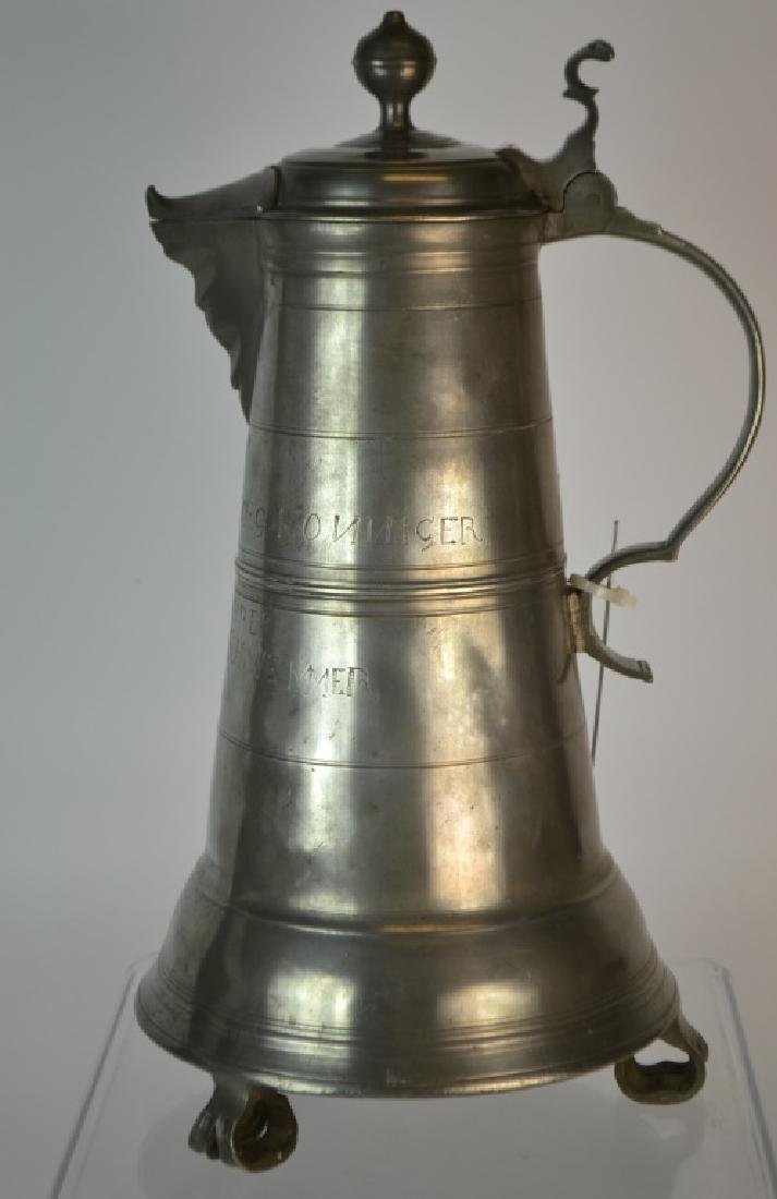 Extremely Rare, Massive 18th C German Pewter Flago