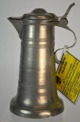 18th century German pewter spouted flagon or 'Schn