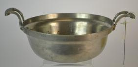 19th century German pewter two-handled bowl