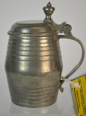 19th C German Pewter Barrel Shaped Beer Stein
