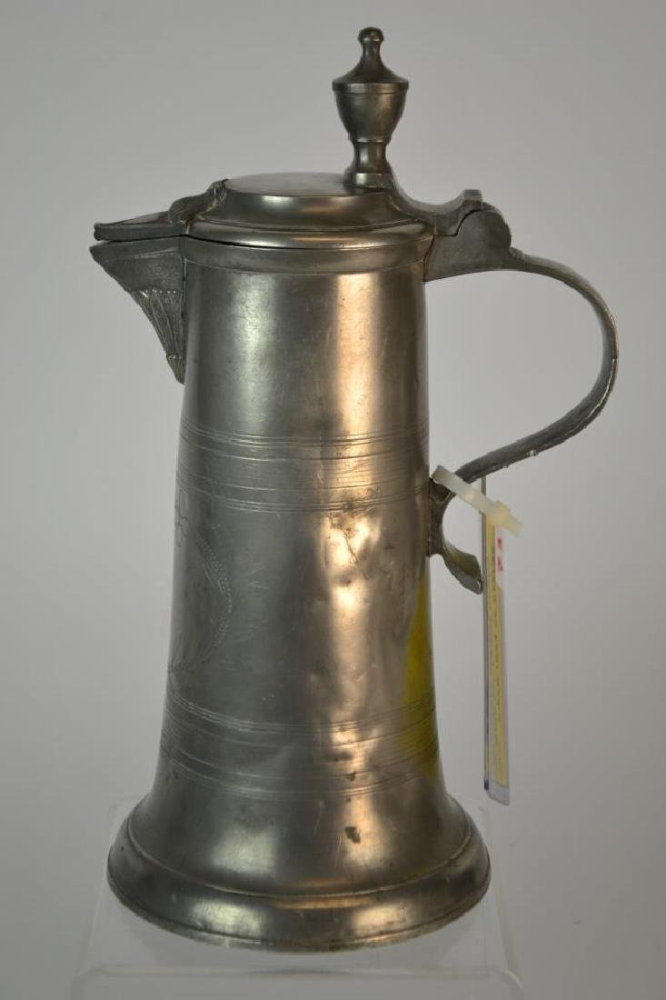 19th Century German Pewter Spouted Wine Flagon