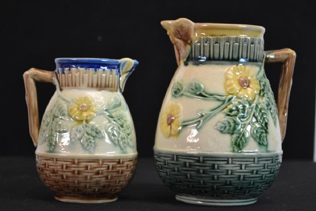 Two Etruscan Majolica Wild Rose Pitchers