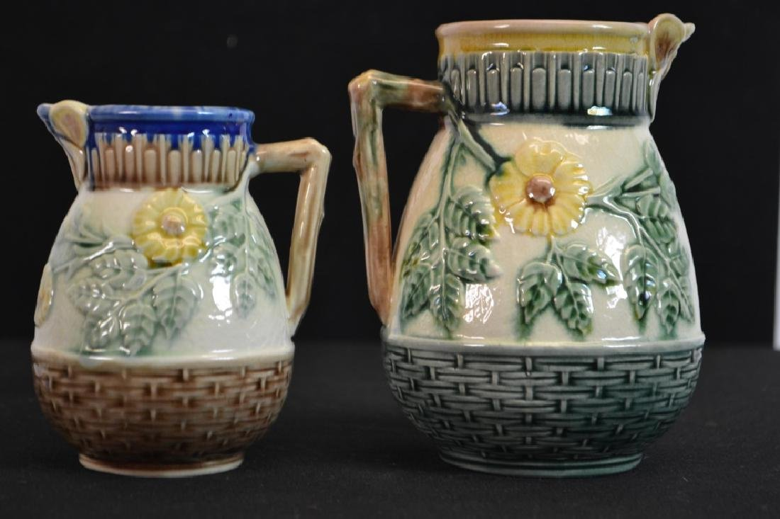 Two Etruscan Majolica Wild Rose Pitchers - 2