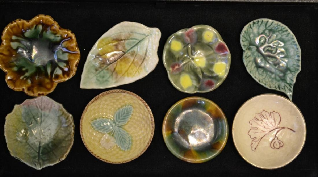 Eight Cup Plates Majolica Etruscan & Ohers