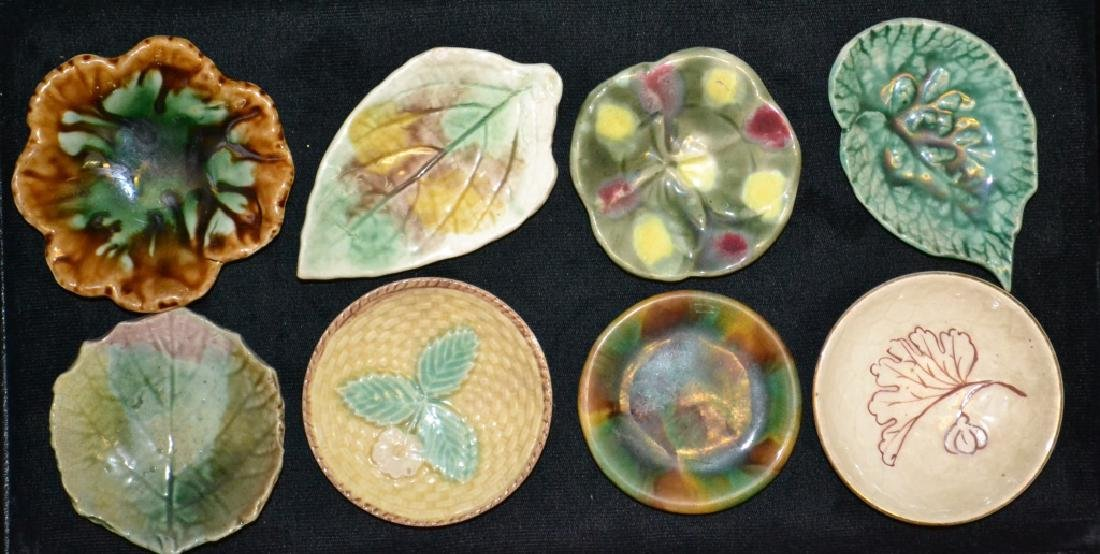 Eight Cup Plates Majolica Etruscan & Ohers - 2