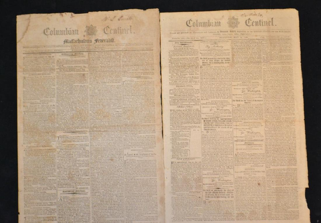 Two Early Columbian Centinel Newspapers