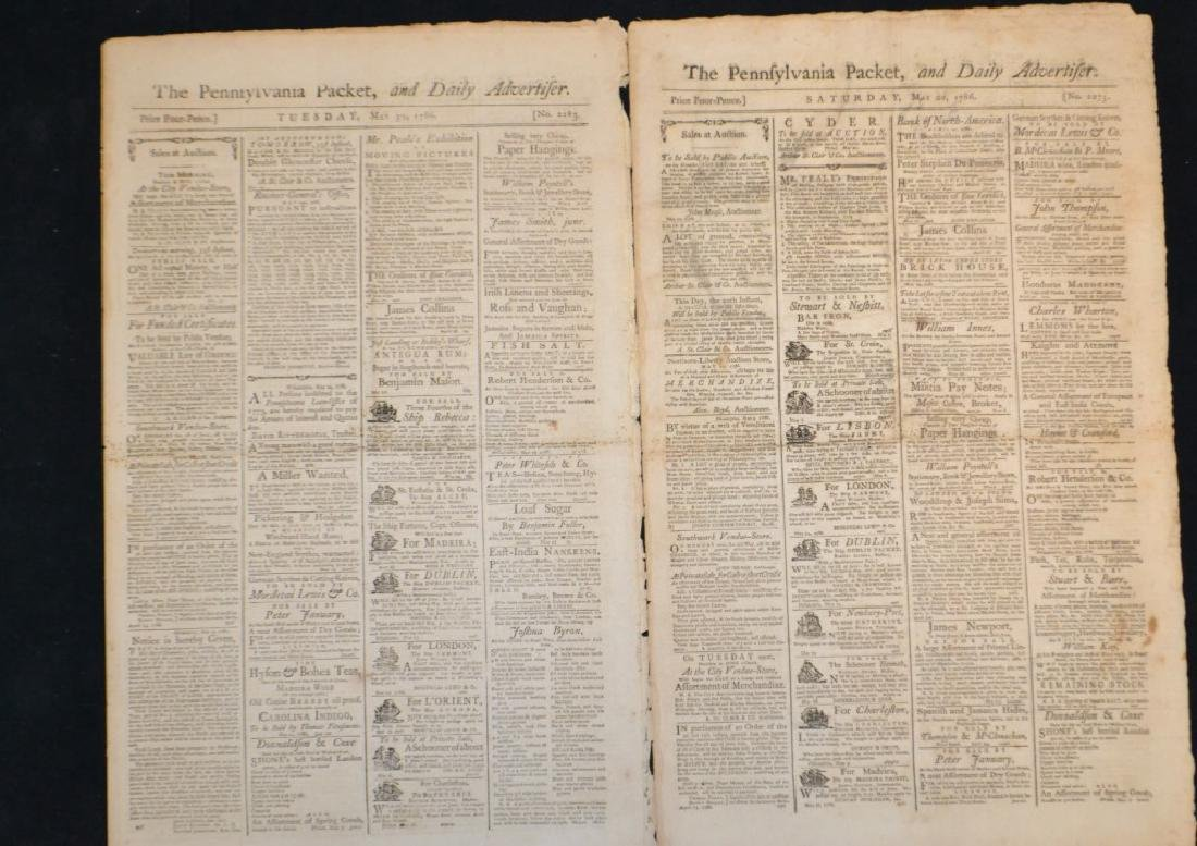 Two 18th C The Pennsylvania Packet Newspaper