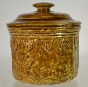 Rockingham-Bennington Pottery Lidded Cracker Jar