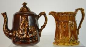 Rockingham-Bennington Pottery Tea Pot & Pitcher