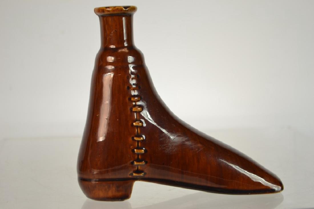 Rockingham-Bennington Pottery Boot Flask