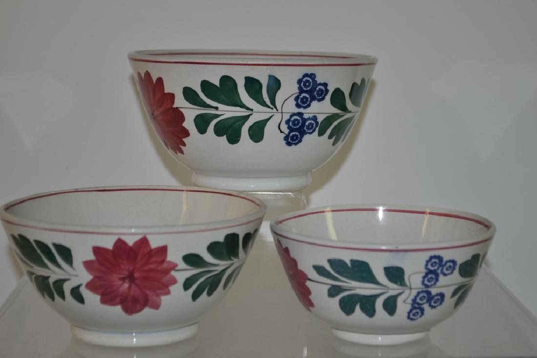Graduated Set of 19th C Staffordshire Mixing Bowls
