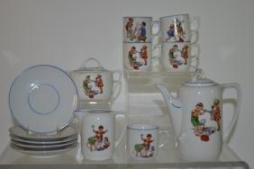 German Child's Tea Set w/ Children, Dogs & Toys